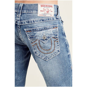 True Religion Men's Skinny Orange Big T Jeans